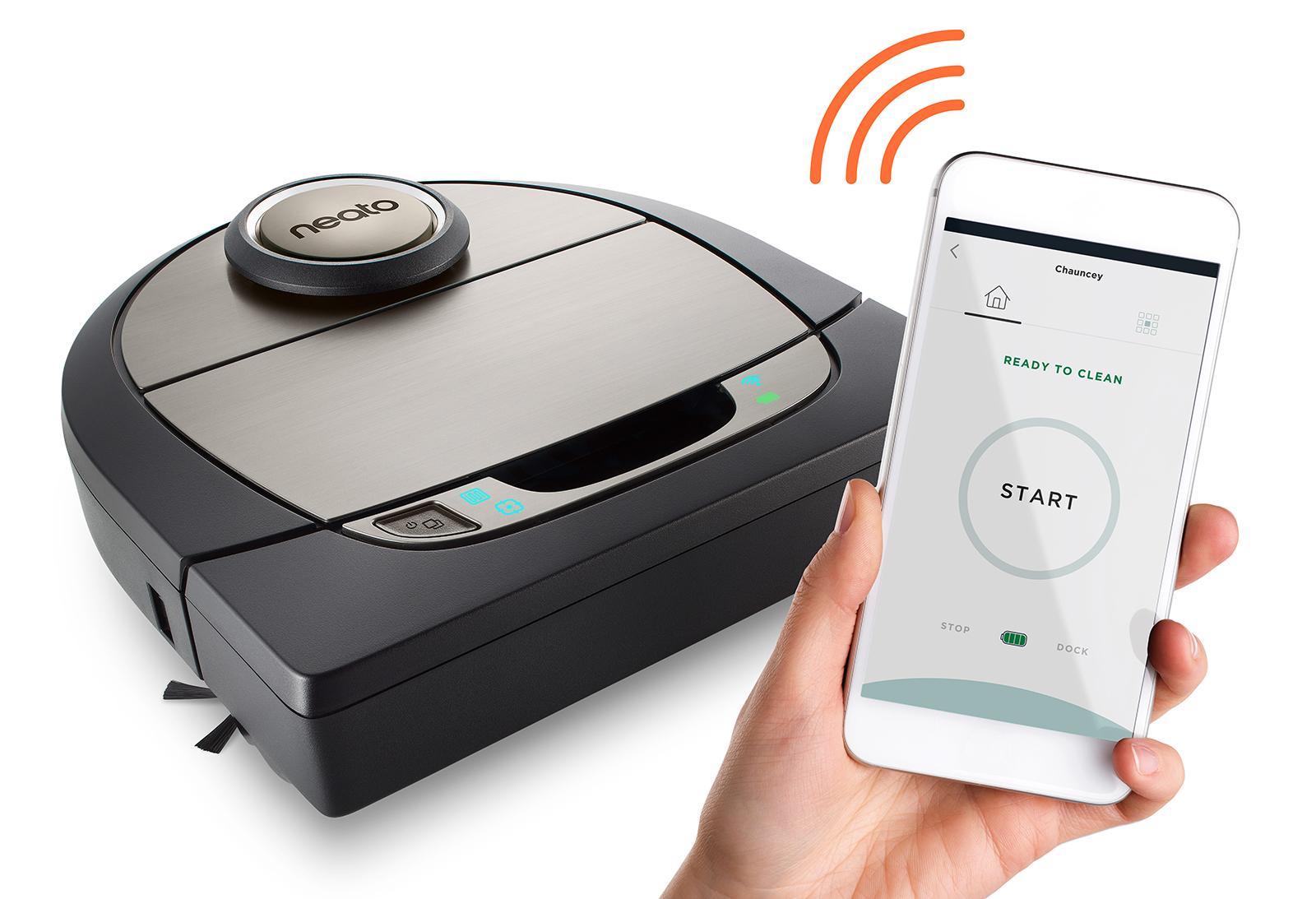 Besitzer eines Neato Roboterstaubsaugers, beispielsweise über den neuen Botvac D7 Connected, können sich über Facebook mit dem Gerät verbinden, um den Reinigungsvorgang zu starten.