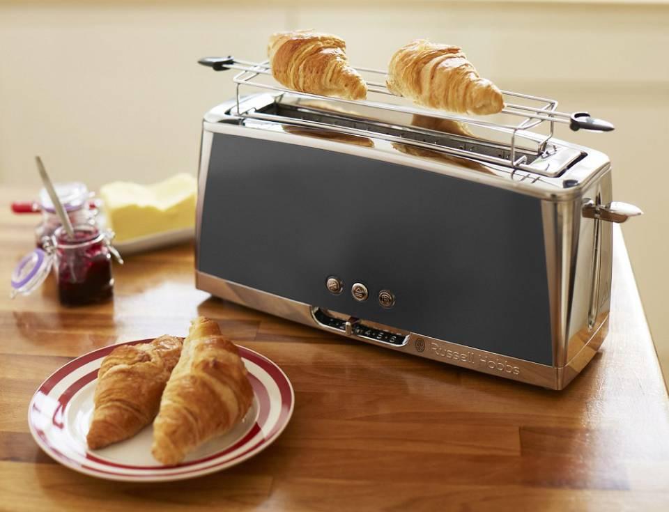Russell Hobbs Langschlitz-Toaster Luna Moonlight Grey 23251-56 mit Lift and Look-Funktion.