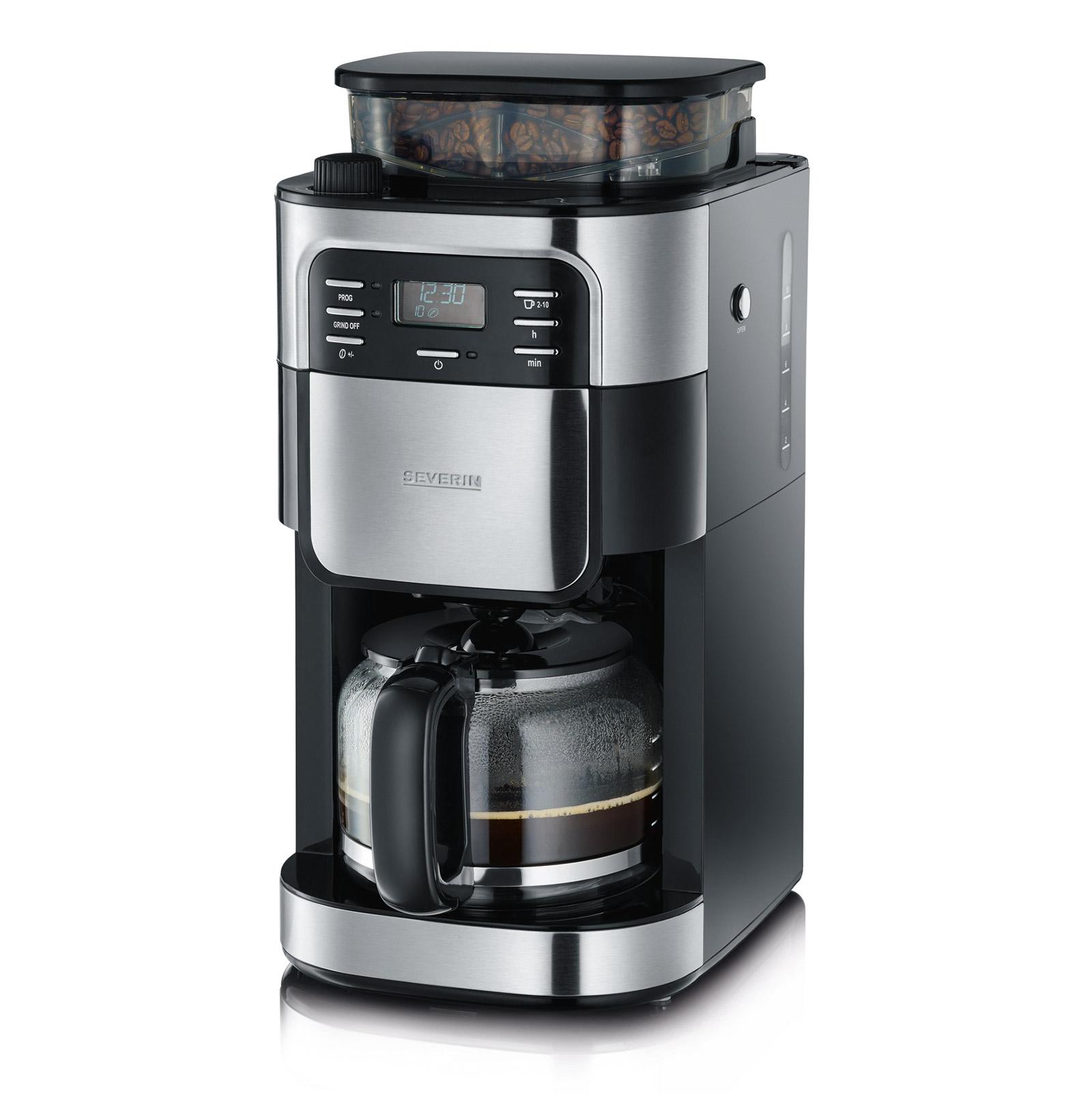 Die Filterkaffeemaschine mit Mahlwerk KA 4810 von SEVERIN sorgt dank integriertem Mahlwerk für frisch gemahlenen Kaffeegenuss.