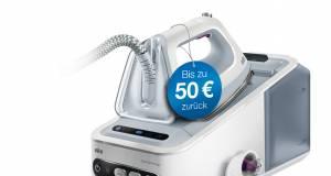Braun-Aktion: Cashback bis zu 50 € am Bügeltisch.