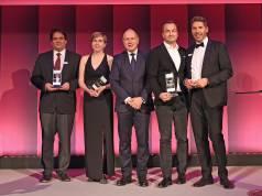 """""""Der Titel 'CIO des Jahres' ist Ansporn und Verpflichtung zugleich, den bei Bosch eingeschlagenen Weg zu einem immer stärker datengetriebenen Business weiter zu gehen"""", so Bosch-IT-Chef Dr. Elmar Pritsch (2. v. r.). Foto: IDG / Foto Vogt"""