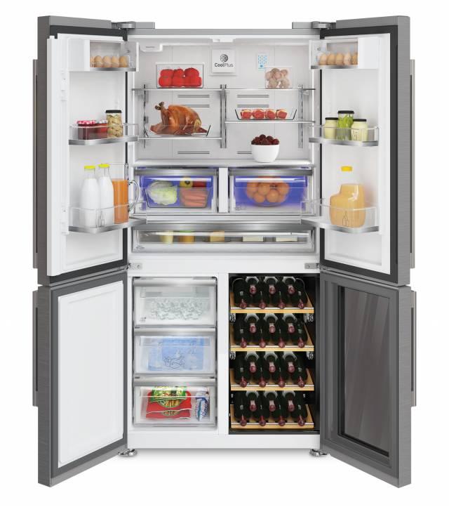 Grundig Side-by-Side Kühlschrank GWN 21210 X mit Weinkühler und Wasserspender.
