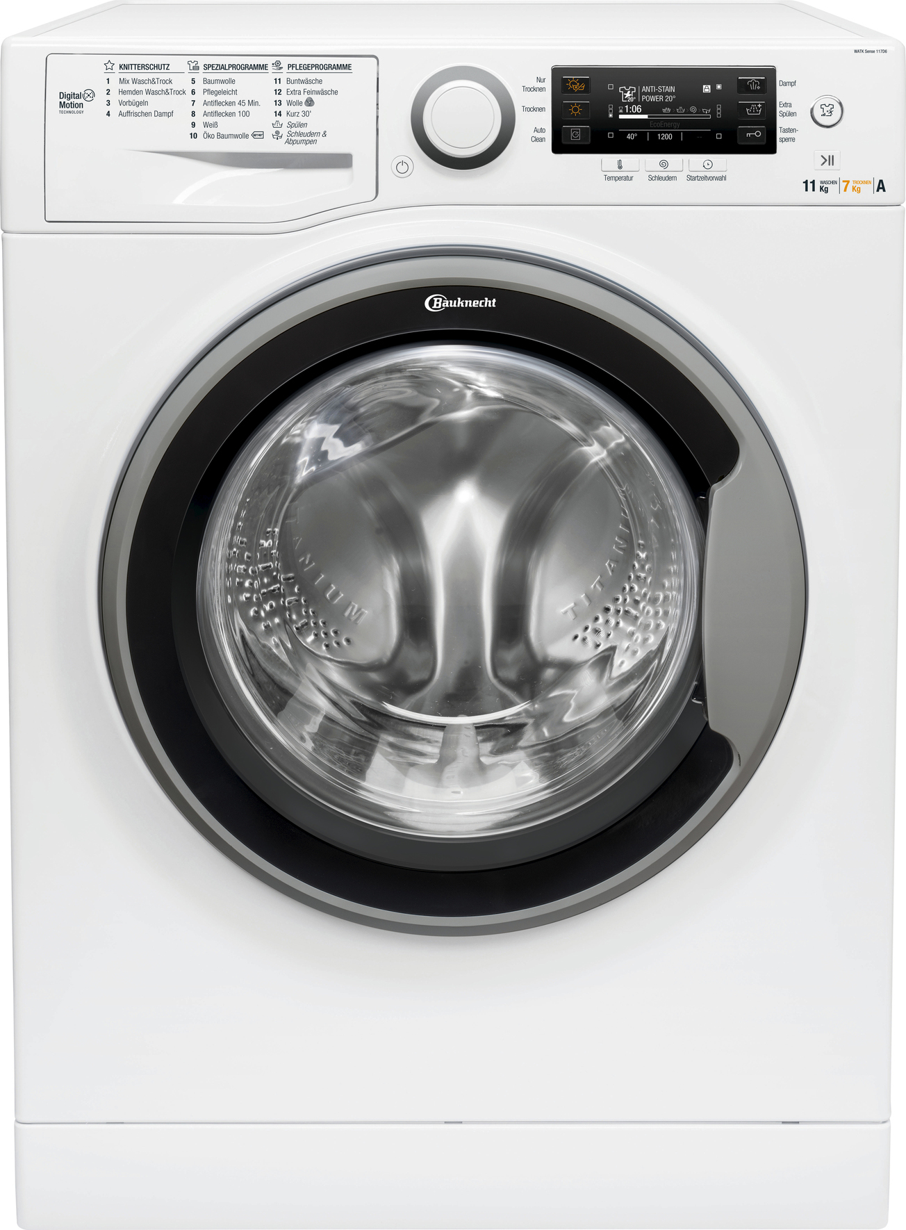 <h1>Bauknecht Waschtrockner WATK SENSE 117D6 EU</h1><h3 style='font-size: 20px; margin: 0px 0px 15px 0px;'> -11 kg Waschen, 7 kg Trocknen, SteamCare Knitterschutzprogramme, Nachlegefunktion</h3>