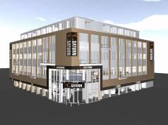 Mit großem Haupteingang und viel Glas wird sich der neue Flagship-Store von Saturn ab Mai in Köln präsentieren.