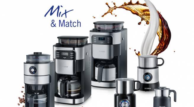 Mit Mix&Match kommuniziert Severin seine Kaffeekompetenz und die Vielzahl an Kombinationsmöglichkeiten der einzelnen Geräte.