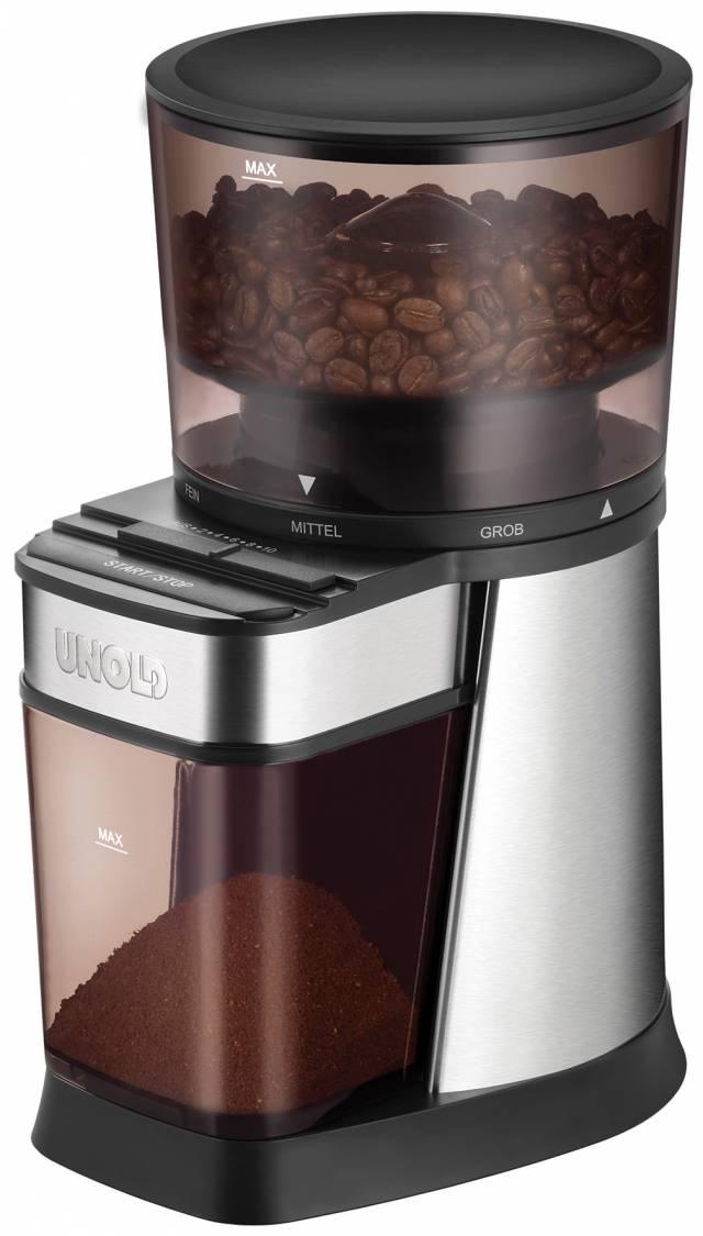 Unold Kaffeemühle Edel mit Kegelmahlwerk aus Stahl.