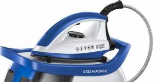 Russell Hobbs Dampfbügelstation Steam Power Blau mit Keramik-Bügelsohle.