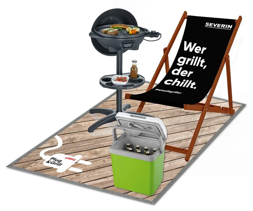 Das Deko-Set besteht aus einem Liegestuhl und einer Floorgraphic und ist für den Händler kostenfrei (nach individueller Absprache) erhältlich.