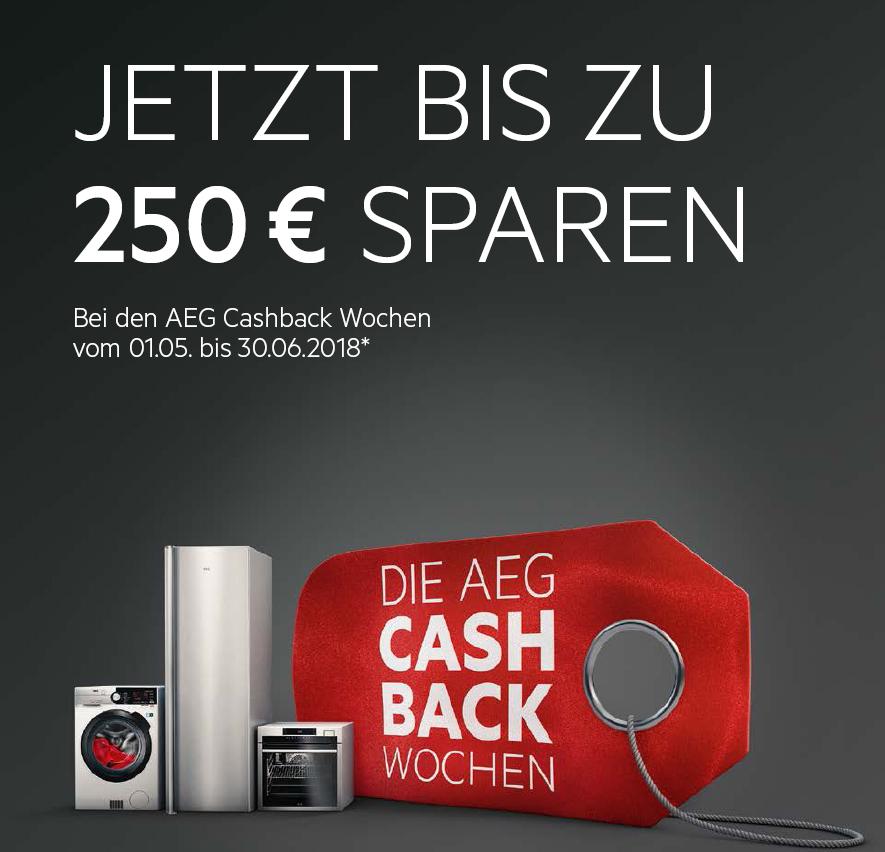 Das lohnt sich: bis zu 250 Euro Cashback bei AEG-Geräten.