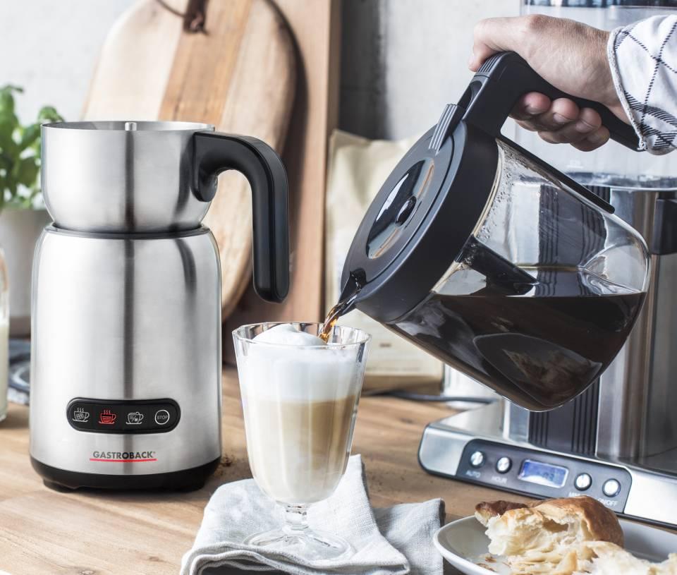 Gastroback Milchaufschäumer Design Milk & Chocolate Advanced mit 4 Automatikprogrammen.