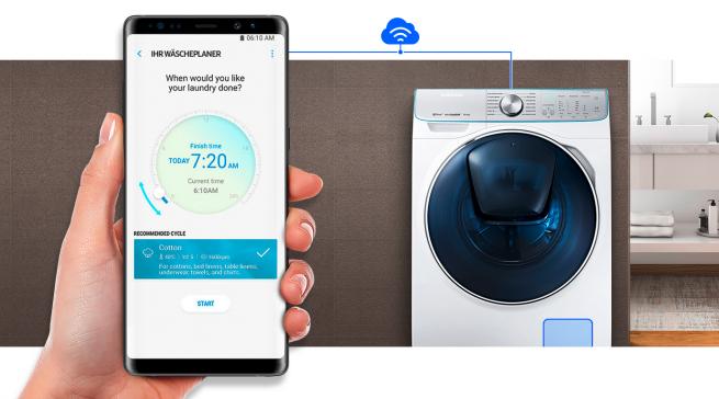 Samsung QuickDrive Waschmaschinen können die Waschzeit bis auf die Hälfte reduzieren.