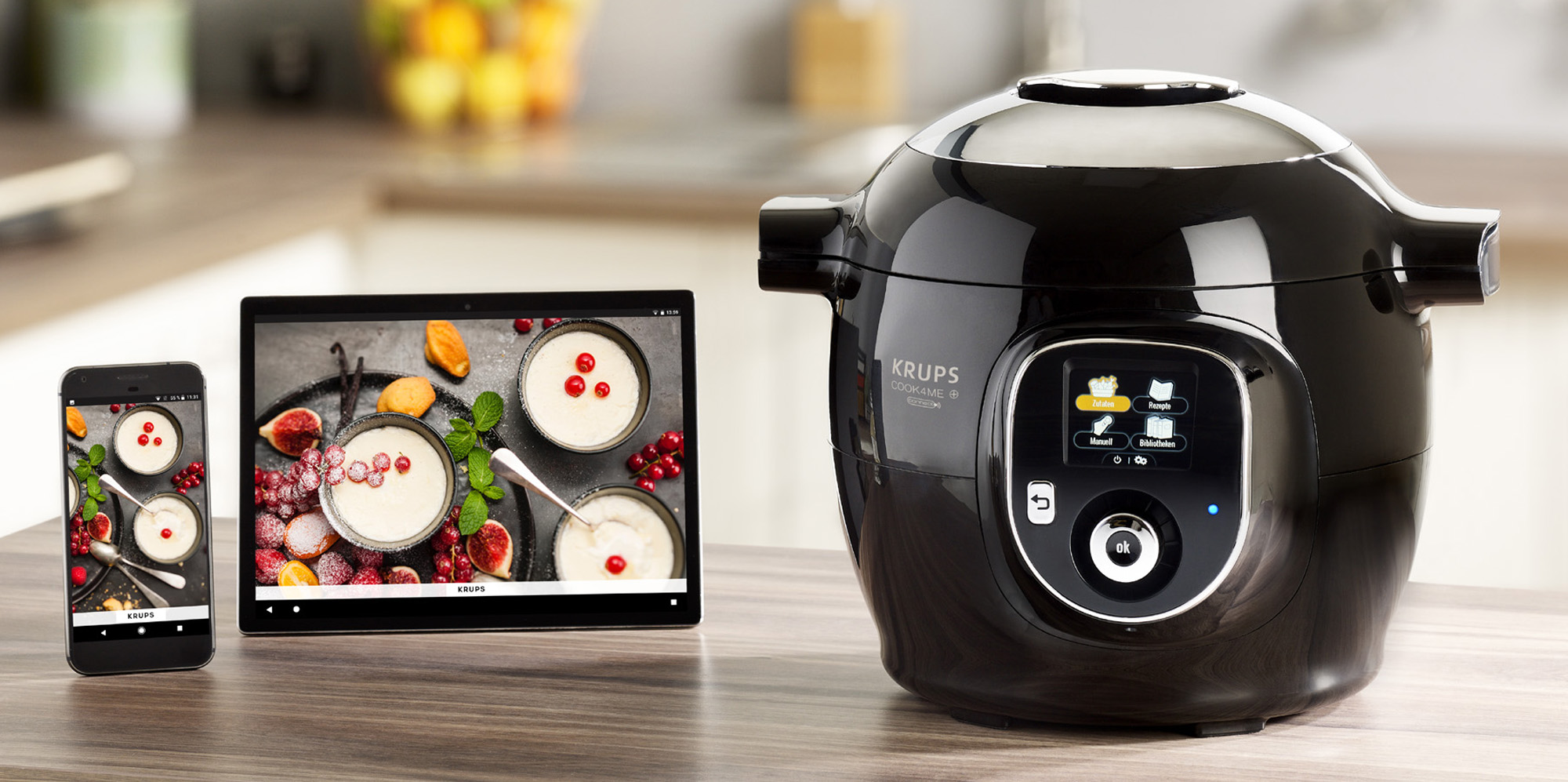 Krups Multikocher Cook4Me+ Connect mit Rezepten per Cook4Me-App.