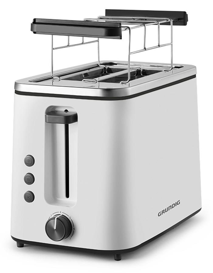 Grundig Toaster TA 5680 mit beleuchteten Aufwärm-, Auftau- und Stopptasten.