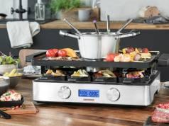 Gastroback Raclette Design Fondue Advanced, gleichzeitig Fleisch und vegetarische Speisen zubereiten.