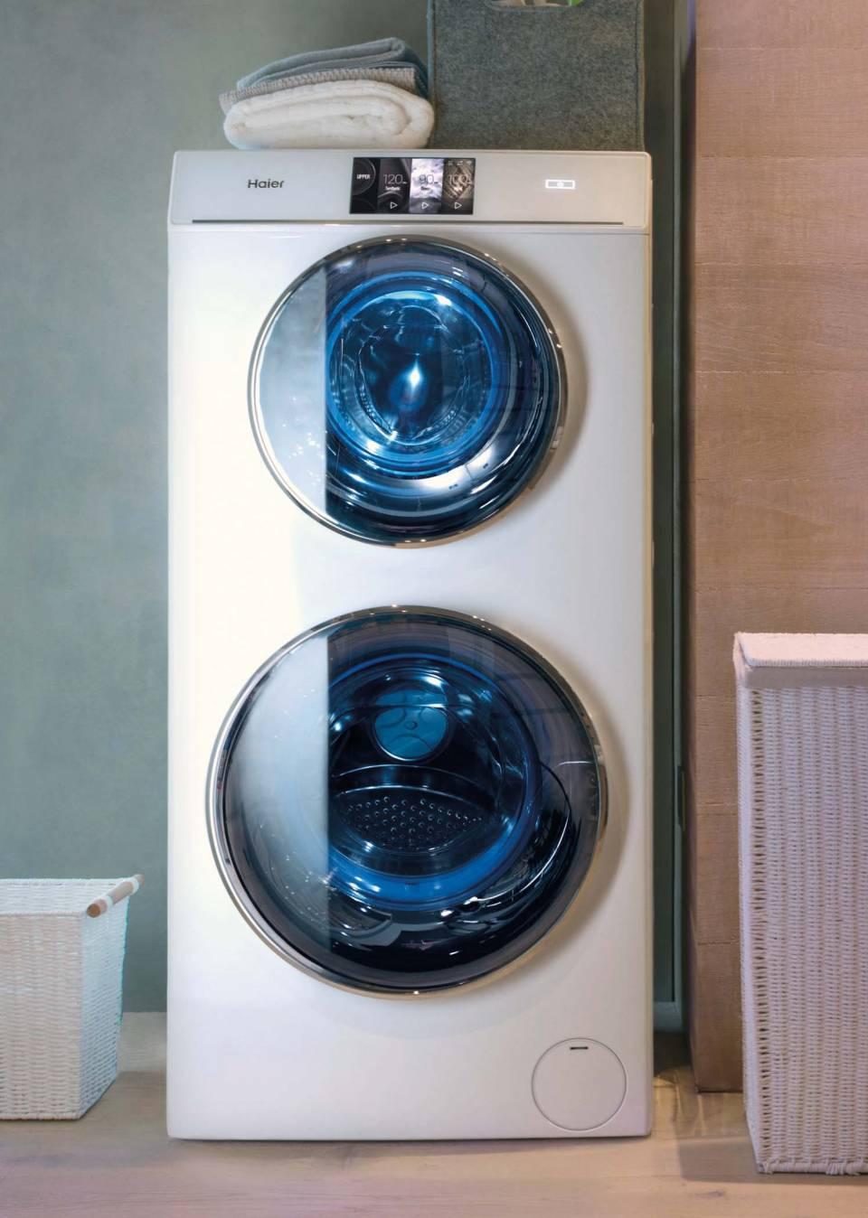 Haier Waschtrockner Duo Dry mit zwei Waschtrommeln.