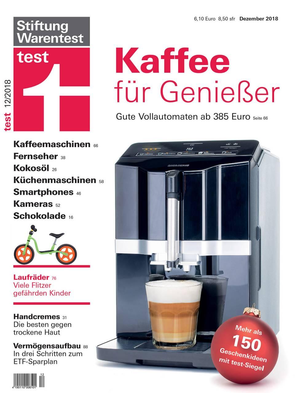 Alles Jahre wieder im Dezember: Die StiWa hat Kaffeevollautomaten im Test.