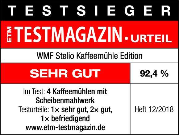 Testsiegel ETM WMF Stelio Kaffeemühle Edition