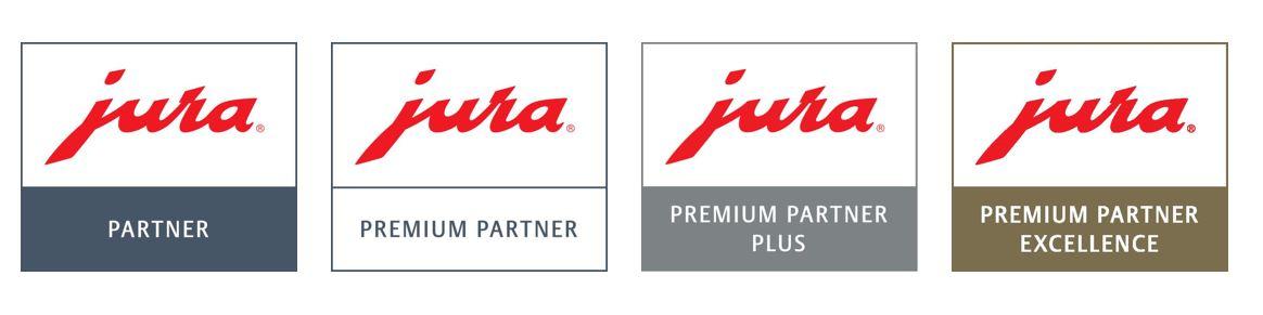 Plakative Logos identifizieren den Händler als Premium-Partner.