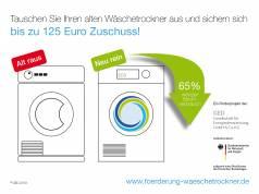 Wer jetzt einen Wärmepumpentrockner der Energieeffizienzklasse A+++ kauft, kann sich diesen, je nach Modell, mit bis zu 100 Euro bezuschussen lassen.