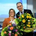 Amtsübergabe: Die ehemalige IHK-Präsidentin Aline Henke und der neue IHK-Präsident Andreas Kirschenmann. Foto: tonwert21.de