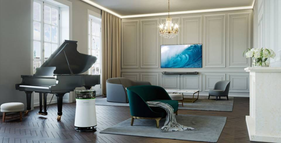 Trendiges Wohnen im Top-Ambiente: LG Signature TV und Air Purifier mit Creme-Tönen.