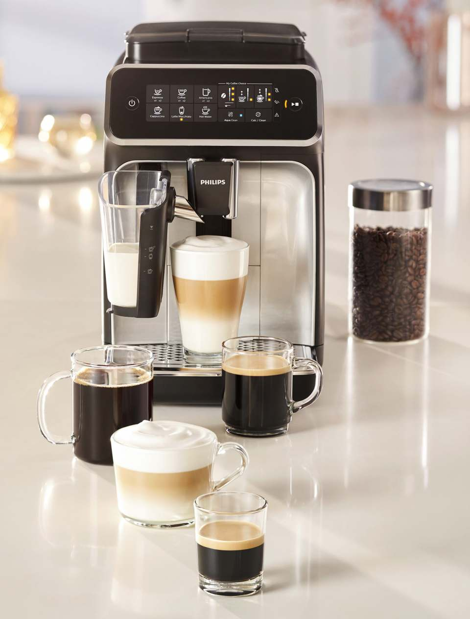 Philips Kaffeevollautomat Serie 3200 mit LatteGo Milchsystem.