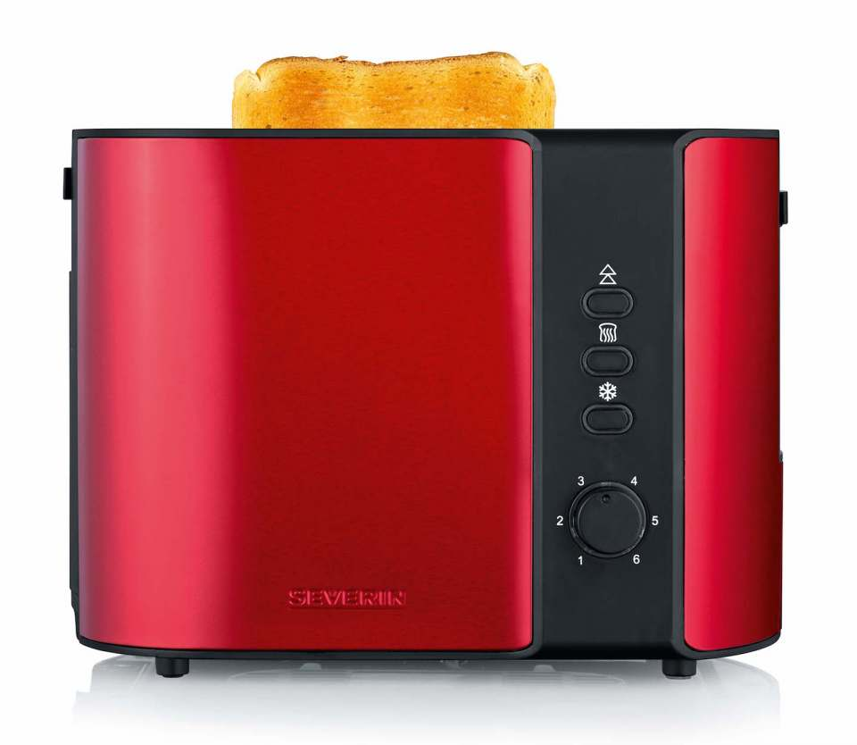 Severin Toaster Fire Red Metallic mit Röstzeitelektronik.