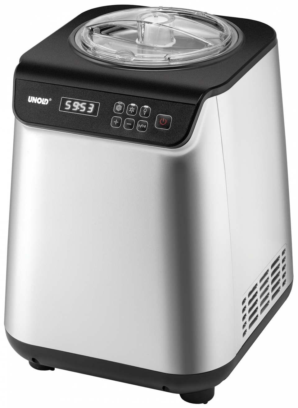Unold Eismaschine Uno mit eloxiertem Eisbehälter.