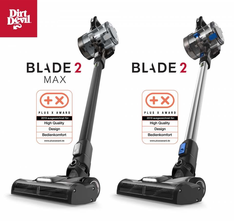 Ausgezeichnet: Die Akku-Sauger Blade 2 Max und Blade 2 von Dirt Devil wurden mit dem Plus X Award ausgezeichnet.