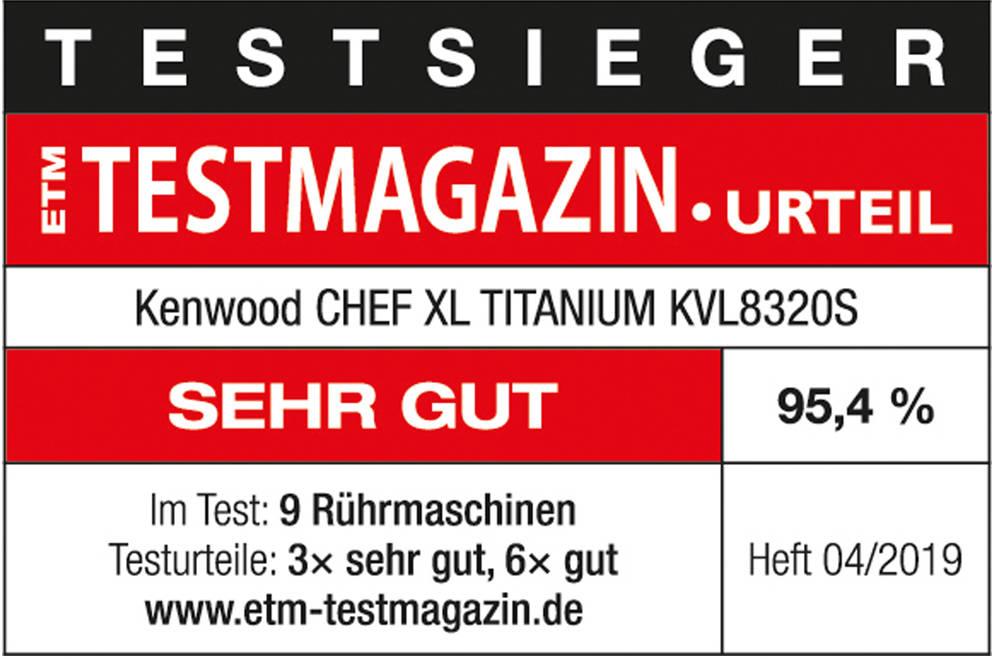 """ETM Testurteil """"Sehr gut"""" für die Kenwood Chef XL Titanium"""