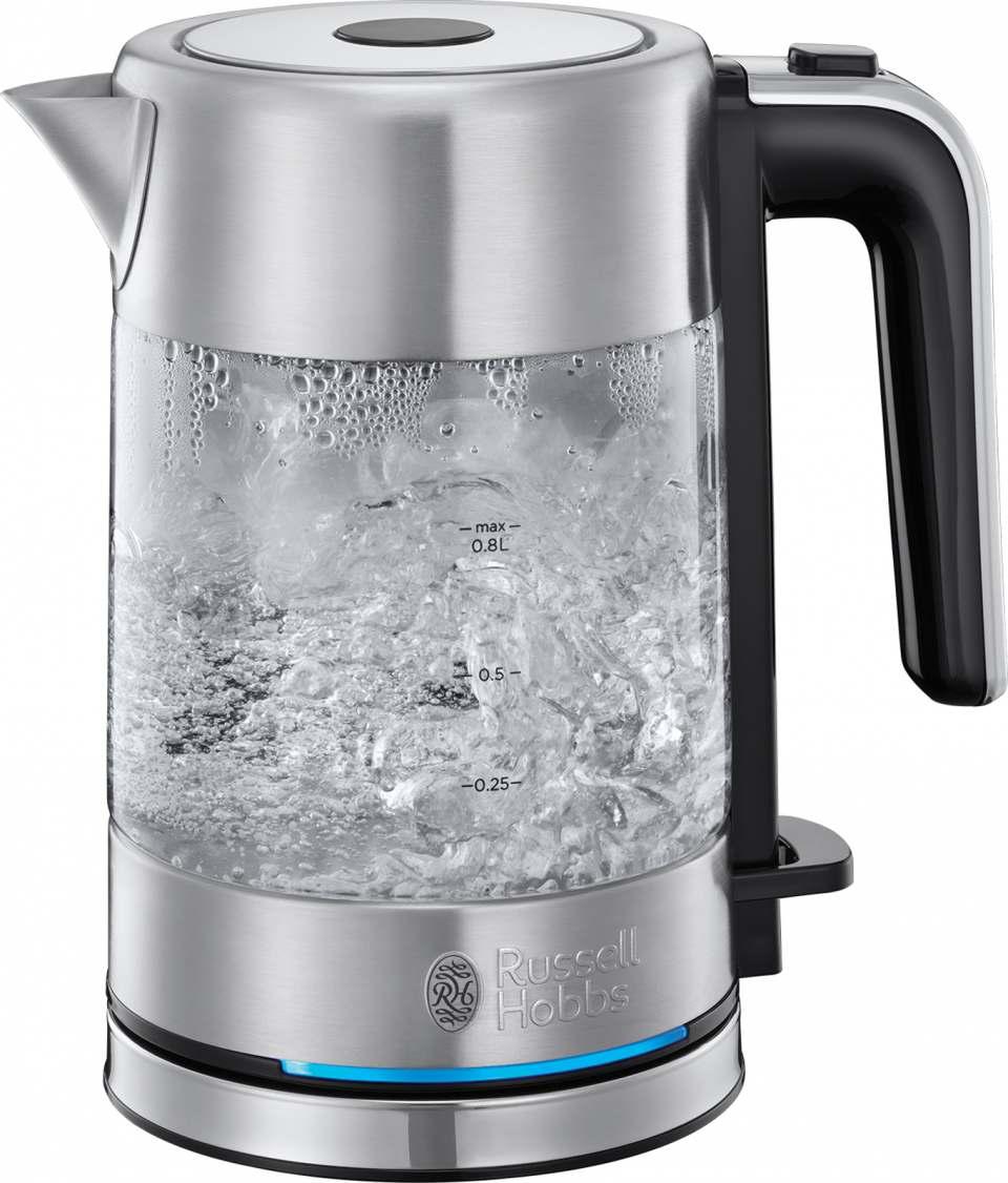 Russell Hobbs Wasserkocher Compact Home ist in einer Edelstahl- und in einer Glas-Variante erhältlich.