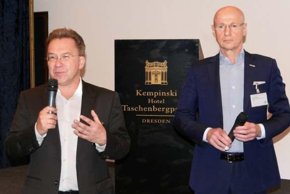 Benedict Kober (li.), Sprecher des Euronics Vorstandes, und Frank Harder, Vorstand Vertrieb, Marketing, E-Commerce bei expert, konkretisierten das Konzept einer gemeinsamen Frühjahrsmesse.