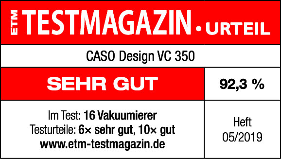 ETM Testmagazin Testsiegel CASO Design VC 350