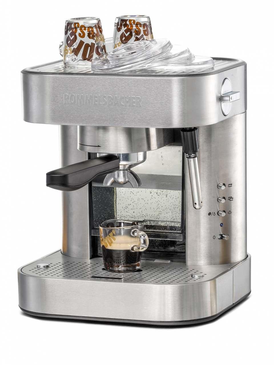 Rommelsbacher Espressomaschine EKS 2010 bereitet Espresso, Cappuccino, Heißwasser für Tee.