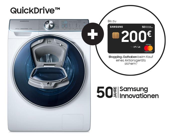 Samsung feiert: QuickDrive-Aktionsgerät kaufen, bis zu 200 Euro Guthaben sichern.