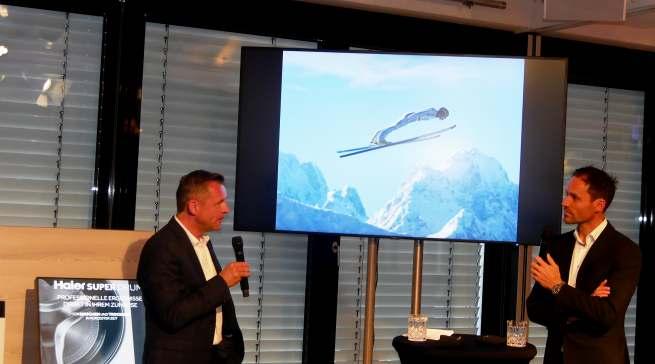 """Skisprungikone Sven Hannawald (re.) und Thomas Wittling philosophieren über die Themen """"Siegeswillen und Motivation."""""""
