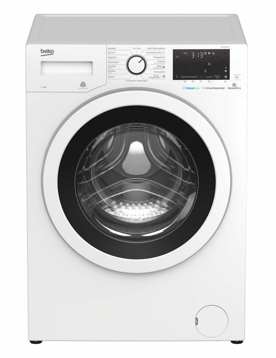Beko Waschmaschine WMY81466ST mit SteamCure-Technologie.