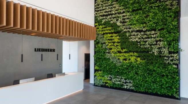 """Die """"grüne Wand"""" im Foyer sorgt für ein prima Klima."""
