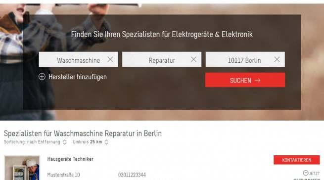 serviceguide24 Suchseite mit Ergebnissen