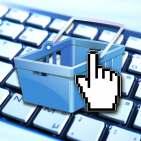 eCommerce Grafik Einkaufskorb auf Tastatur