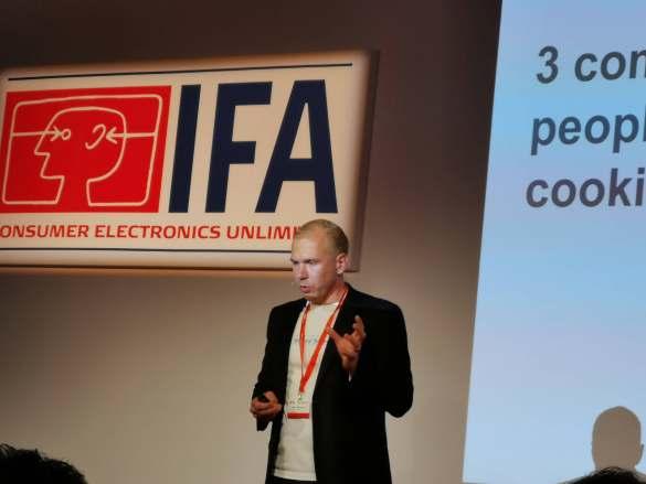 Start-up aus Finnland: Safera CEO Mikko Reinikainen stellte einen Smart Cooking Sensor vor.