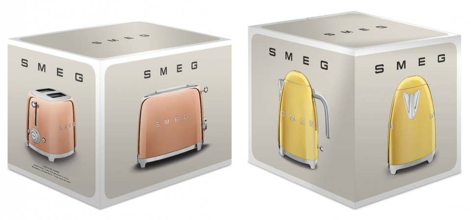 Goldige Küchenhelfer: Smeg Toaster und Wasserkocher.