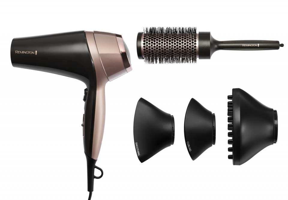 Remington Haartrockner Curl & Straight Confidence mir 3 Stylingaufsätzen für lockige und glatte Looks.