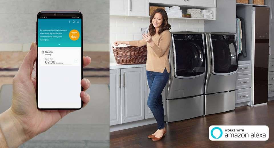 LG ThinQ Geräte, ausgestattet mit Amazon Dash Replenishment, ersparen die Arbeit, Verbrauchsmaterialien wie Wasch- und Reinigungsmittel zu bestellen.