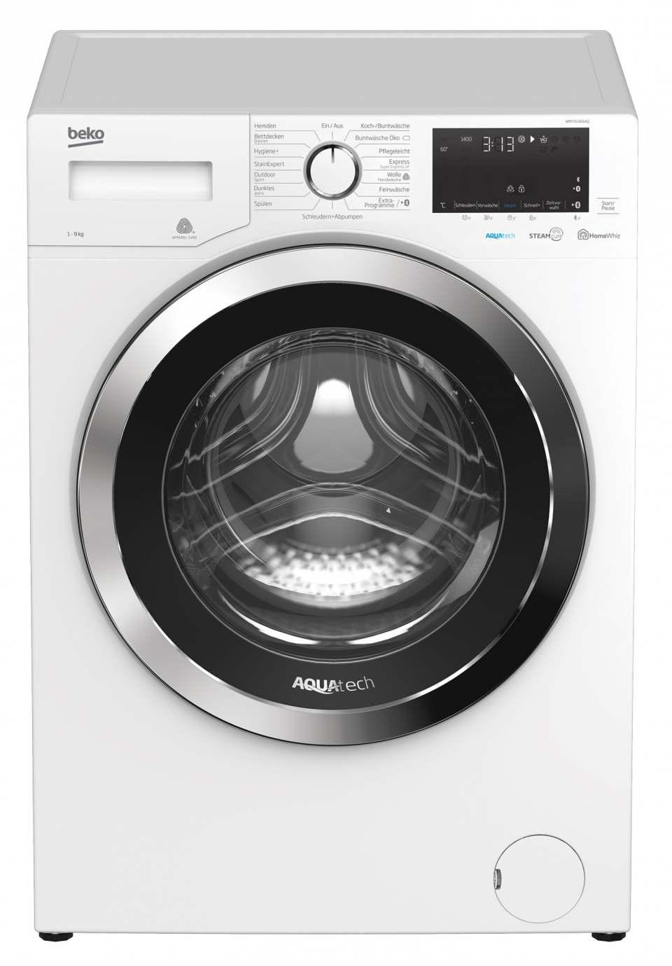 Beko Waschmaschine WMY91466AQ mit 15 Programmen.