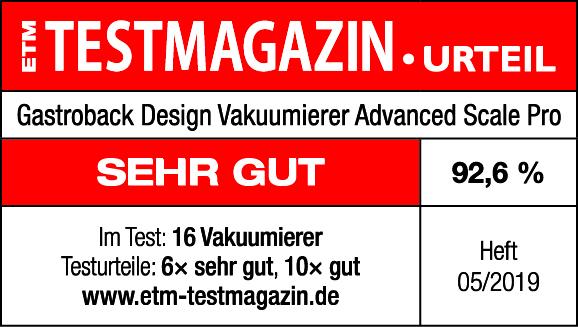 Siegel Testmagazin Gastroback Vakuumierer Advanced Scale Pro