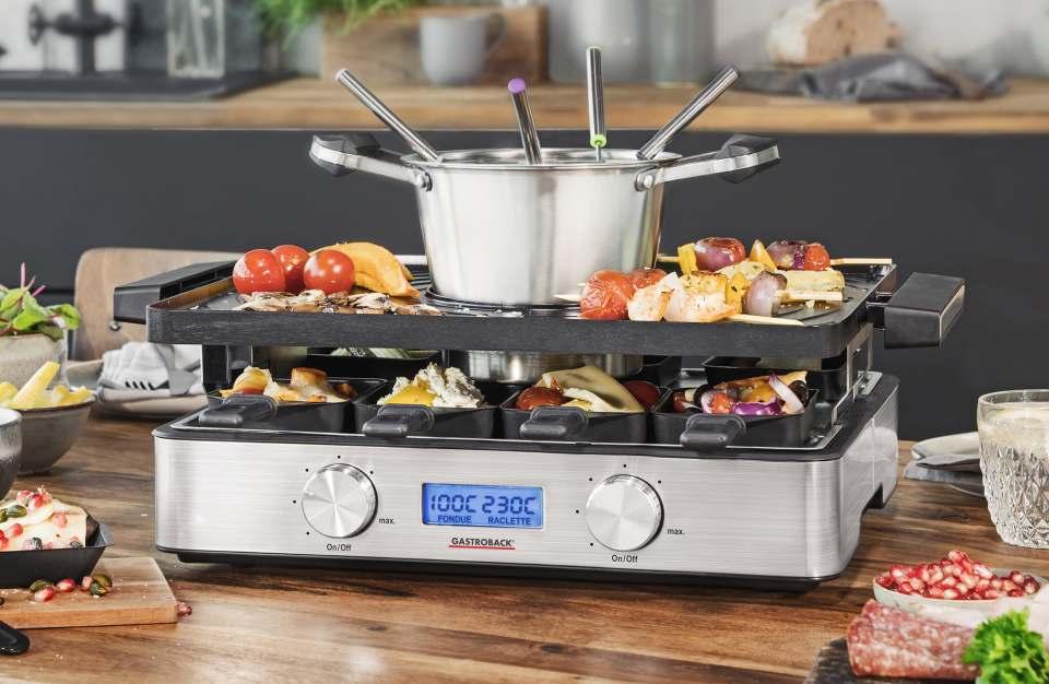 Gastroback Raclette-Fondue Design Advanced für die Zubereitung von Fleisch und vegetarischen Speisen.