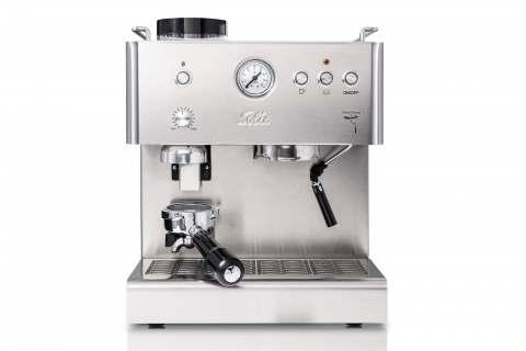 """Eine Espressomaschine mit integriertem Scheibenmahlwerk, Manometer, Dampf- und Heißwasserfunktion sowie massivem Halter für 58 mm Siebeinsätze: """"Personal Barista"""" von Solis."""
