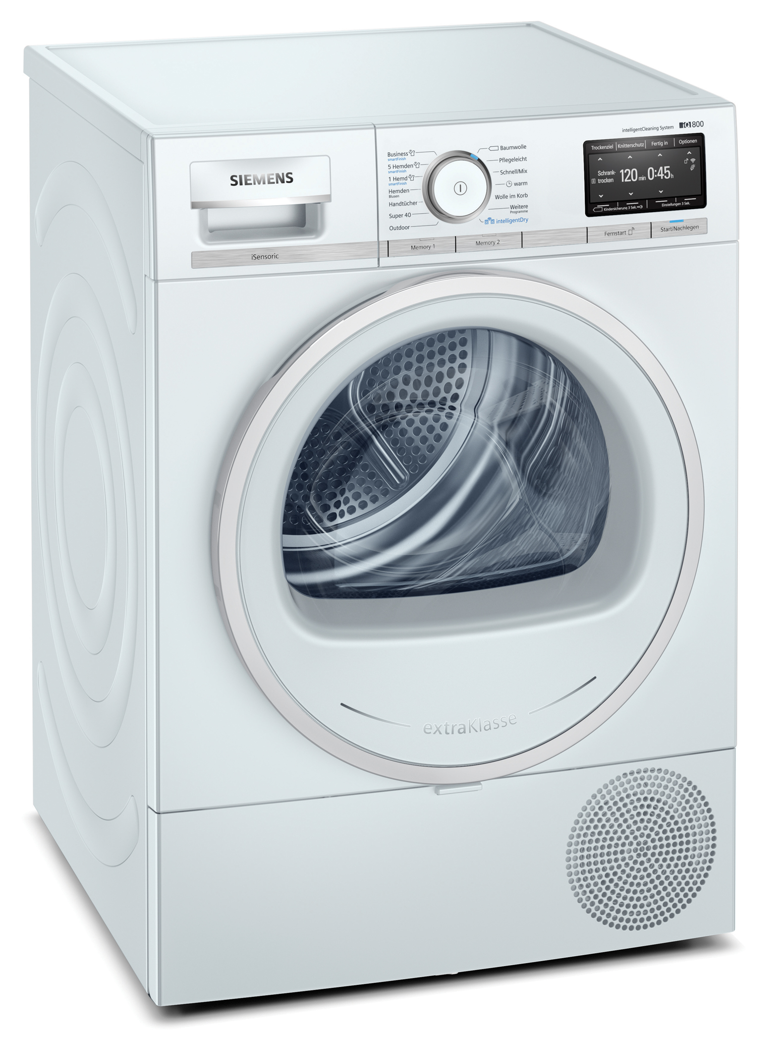 <h1>Siemens Wäschetrockner IQ800</h1><h3 style='font-size: 20px; margin: 0px 0px 15px 0px;'> - intelligentDry, intelligentCleaning, smartFinish</h3>