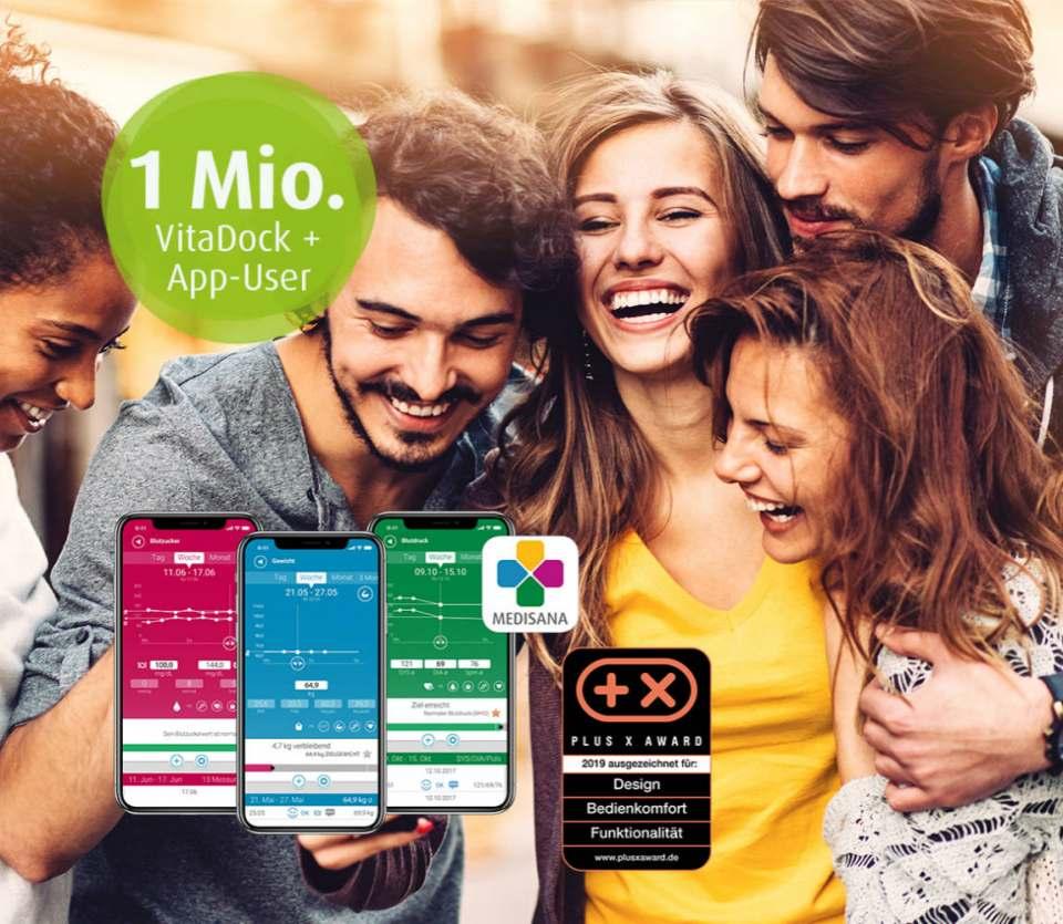 Schallgrenze überschritten: Medisana VitaDock+ App mit über einer Million Nutzer.